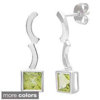 Oravo Sterling Silver Princess Shape Gemstone Earrings