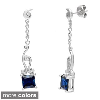 Oravo Sterling Silver Princess-cut Gemstone High Polish Earrings