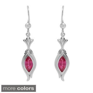 Oravo Sterling Silver Marquise-cut Gemstone Dangle Earrings