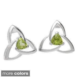 Oravo Sterling Silver Trillion Gemstone Earrings