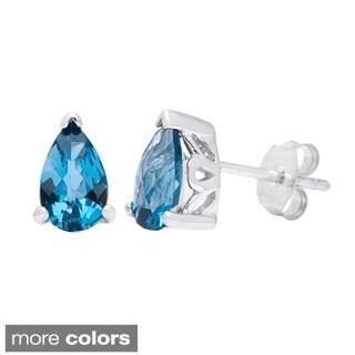 Oravo Sterling Silver Pear-cut Gemstone Stud Earrings