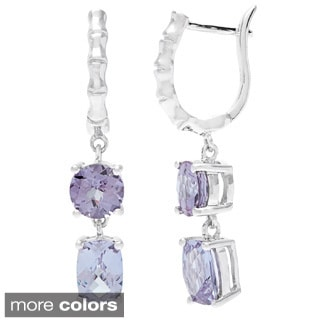 Oravo Sterling Silver Oval-cut Gemstone Dangle Earrings