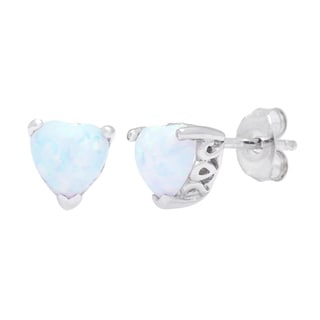 Oravo Sterling Silver Opal Heart-cut Earrings