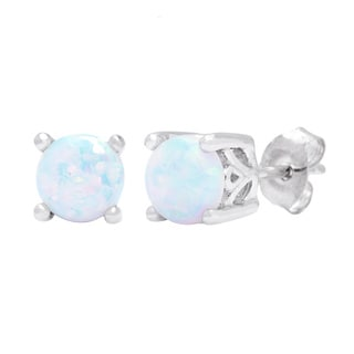 Oravo Sterling Silver Round-cut Opal Earrings