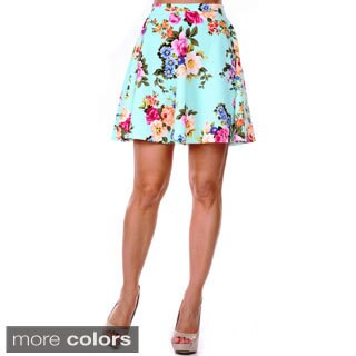 White Mark Women's Floral Flared Skirt