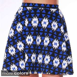 White Mark Women's Tribal Print Flared Skirt