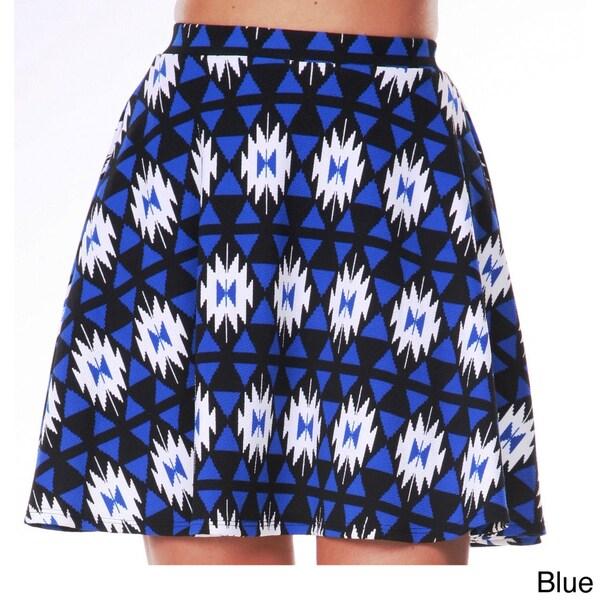 White Mark Women's Tribal Print Flared Skirt