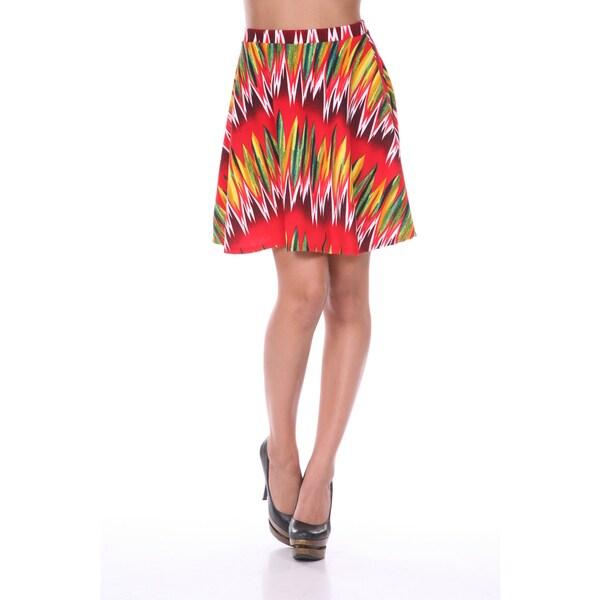 White Mark Women's Zig-zag Print Flare Skirt
