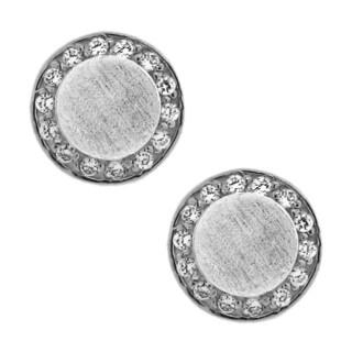 Gioelli Sterling Silver 1/8ct TDW Matte Diamond Stud Earrings