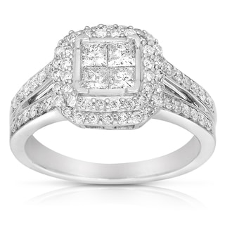 Sterling Silver 1ct TDW Princess Diamond Engagement Ring (G-H, I2-I3)