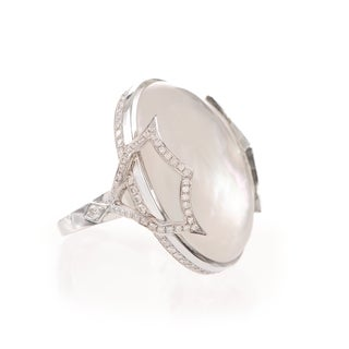 Ivanka Trump 18k White Gold and Rock Crystal Cabochon 1ct TDW Diamond Pave Cocktail Ring (G-H, SI1-SI2)