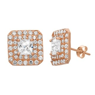 Gioelli 10KT Gold 2.95 tcw Princess-cut Spotlight CZ Earrings
