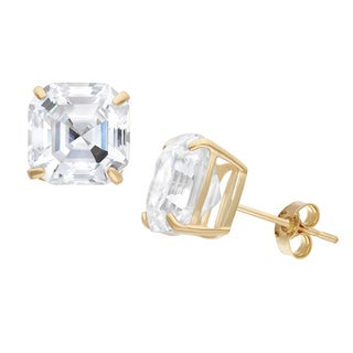 Gioelli 10KT Gold 6.92 tcw 8mm Asscher-cut Stud Earrings