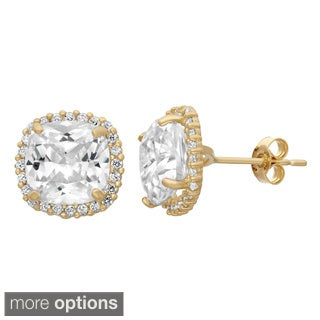 Gioelli 10KT Gold 10.72 tcw 8mm Cushion Pave CZ Earrings