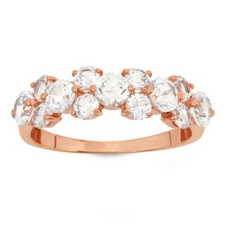 10k Rose Gold Up and Down Cubic Zirconia Fashion Ring