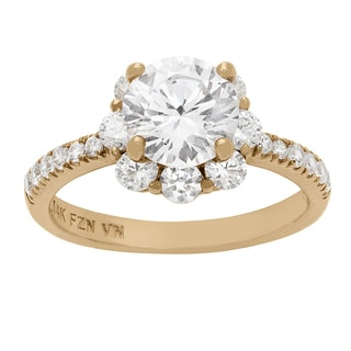 Gioelli 10KT Gold 6.09 tcw Floral Motif Halo CZ Ring
