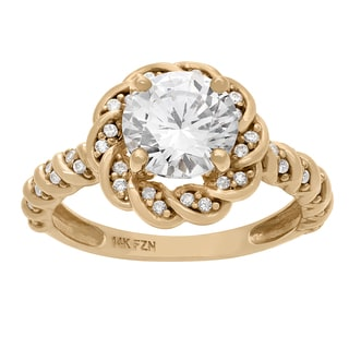 Gioelli 10KT Gold 3.86 tcw 8mm Twisted Vine Enagagement CZ Ring