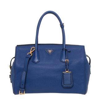 Prada Ink Blue Vitello Leather Satchel