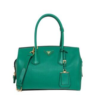 Prada Small Green Vitello Leather Satchel