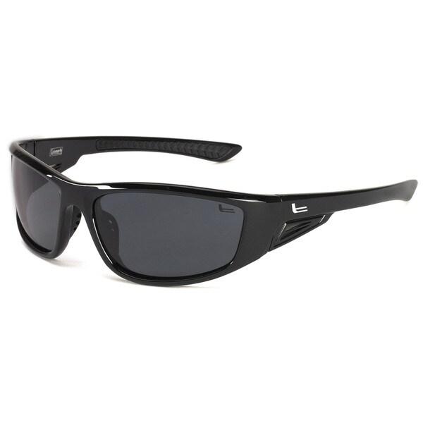 Coleman 'Highlander' Shiny Black Frame Polarized Sport Sunglasses