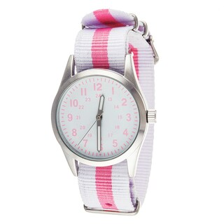 Xtreme Time Girl's Pop Round White/ Pink Nylon Watch