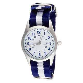 Xtreme Time Kids' Pop Round Blue/ White Nylon Watch
