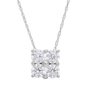 Gioelli 10KT Gold 3.44 tcw Round is Square CZ Pendant