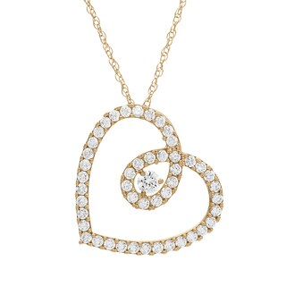 Gioelli 10KT Gold 1.26 tcw CZ Heart Necklace