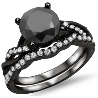 14k Black Gold 1 1/2ct Black Diamond Ring Set (F-G, SI1-SI2)