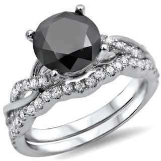 14k White Gold 1 1/2ct Black Diamond Bridal Ring Set (F-G, SI1-SI2)