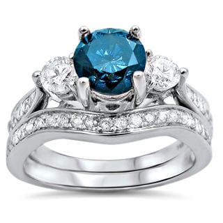14k White Gold 1 3/5ct Blue Diamond Three Stone Bridal Set (G-H, SI1-SI2)