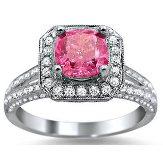 18k White Gold 2ct TDW Pink Cushion-cut Halo Diamond Ring (F-G, SI1-SI2)