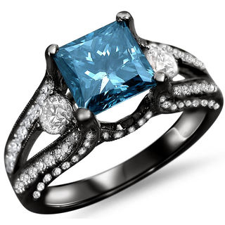 18k Black Gold 2ct TDW Blue Princess-cut Diamond Ring (F-G, SI1-SI2)