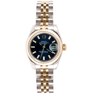 Pre-Owned Rolex Women's 179173.JBLS Datejust Blue Dial Two-Tone Watch