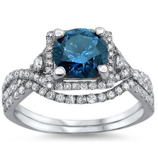 18k White Gold 1 5/6ct Blue Round-cut Diamond Ring Set (F-G, SI1-SI2)