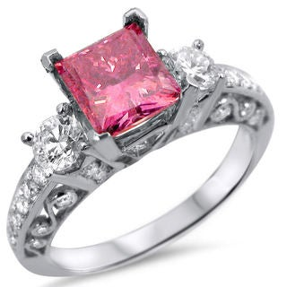 18k White Gold 1 3/4ct Pink Princess Cut Three Stone Diamond Ring (SI1-SI2)