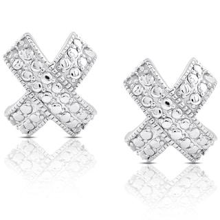 Finesque Sterling Silver 1/10ct TDW Diamond 'X' Stud Earrings (I-J, I2-I3)