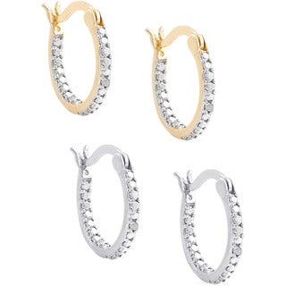 Finesque Sterling Silver 2-Pair Diamond Accent Hoop Earring Set