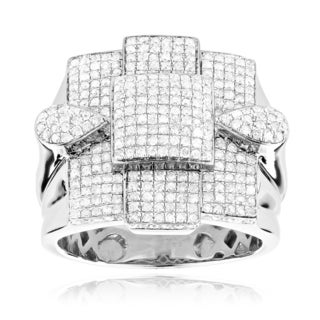 Men's Sterling Silver 1 3/4ct TDW Pave Diamond Ring (H-I, VS1-VS2)