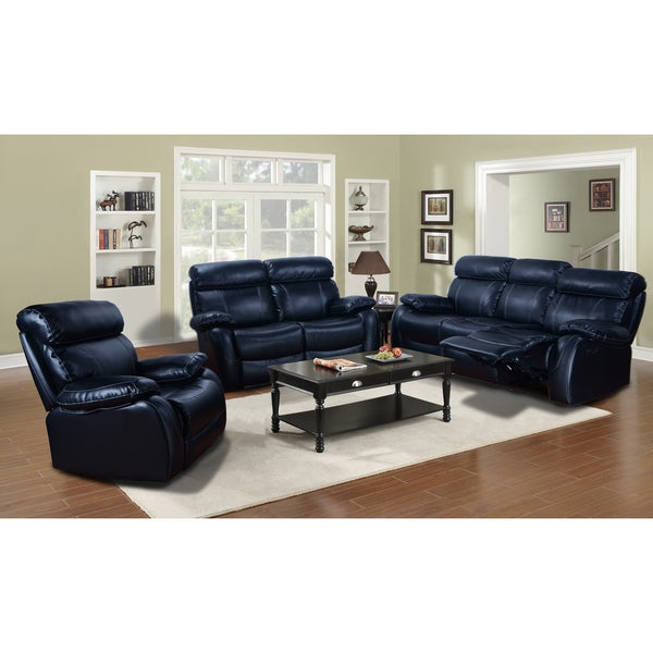 black leather reclining 3 piece sofa set with rocking recliner chair