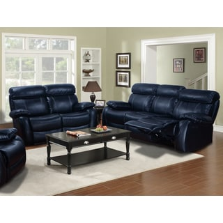 Barcelona Black Leather Reclining 2-piece Sofa and Loveseat Set