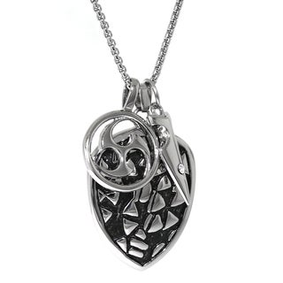 Stainless Steel Cubic Zirconia Accent Pendant Necklace