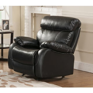 Barcelona Black Leather Rocking Recliner Chair