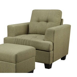 Emerald Contemporary Fabric Chair and Ottoman Set