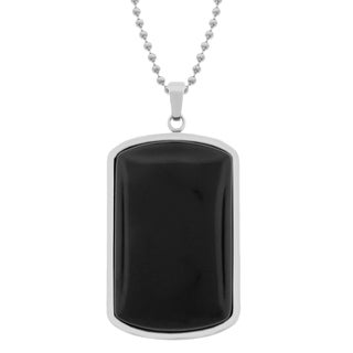 Stainless Steel Black Onyx Dog Tag Pendant Necklace