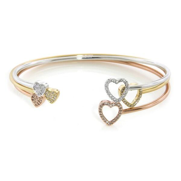 Eternally Haute Gold Overlay Cubic Zirconia Two-heart Bangles