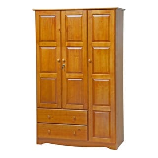 Palace Imports Grand Solid Wood 3-door Wardrobe with Lock