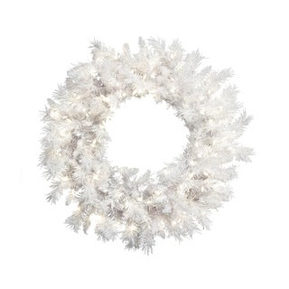 Pre-lit 30-inch White Mixed Pine Wreath