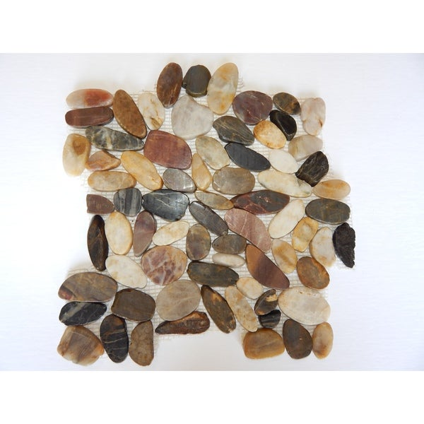 12 x 12-inch Mixed Colors Flat Pebble Mesh Tile (Pack of 5)