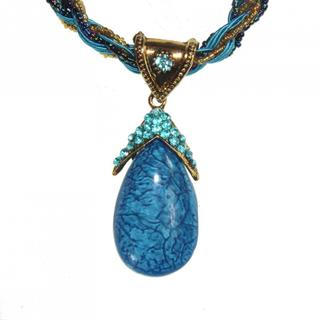 Beaded Multi-row Created Turquoise Pendant Necklace (China)